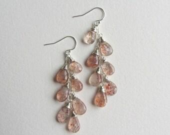 Sunstone Earrings with Sterling Silver - 7 Stone Cascade Earrings
