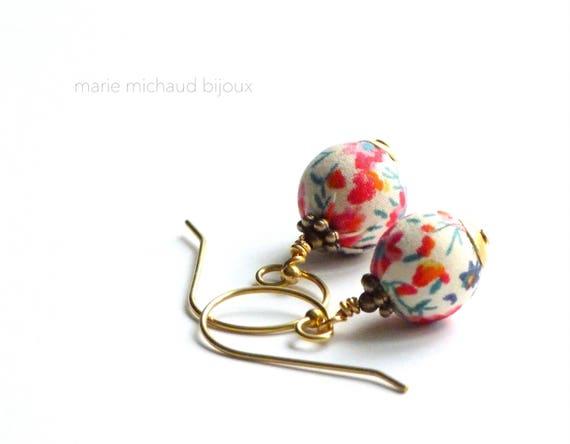 Liberty earrings,Cute earrings, Colorful earrings, Summer earrings, Flower earrings,Liberty jewelry,Summer jewelry,Liberty,Colorful jewelry