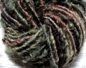 Handspun Hand Dyed Curly Textured Worsted Cotswold Yarn in Woodland Green Brown with Rusty Red and Gold by KnoxFarmFiber for Knit Weave Felt