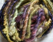 Handspun Soft Curly Textured Bulky Border Leicester Wool Art Yarn in Deep Purple Gold Pink by KnoxFarmFiber for Knit Weave Crochet Felt