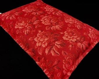Microwave Heating Pad, Gift for Her, Corn Bag, Heat Pack, Bed Warmer, Relaxation Gift, Spa Massage Therapy Pillow, Red Floral, Get Well