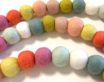 HAPPY SPRING - Wool Felt Ball Garland 8ft - Wool Felt Balls, Holiday Decor, Photo Prop, Ready To Ship!