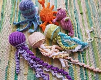 6 Amigurumi sea toys, teether jellyfish, crab, octopus, seahorse, nautical baby shower, sea monster, crochet fish, ocean, gift for baby girl