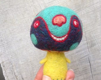 OOAK Needle felted Happy Mushroom Monster Toy Shelf Sitter Ready to Ship