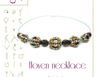 Beading tutorial / pattern Hoven necklace with bugle beads. Beading instruction in PDF – for personal use only