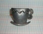 Tea Cup PULL KNOB HANDLE Metal Hardware Vintage Teacup Saucer