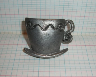 Tea Cup PULL KNOB HANDLE Metal Hardware Vintage Teacup Saucer