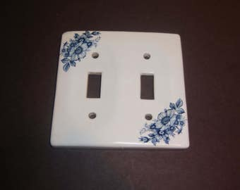 Cottage Chic Light Switch Plate Porcelain Cover Double Toggle Wall Blue Flowers Vintage Switchplate