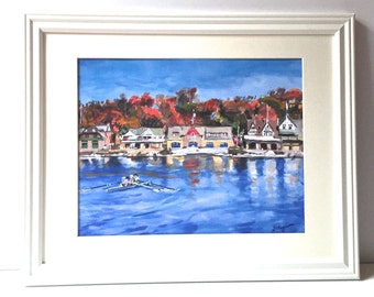 16x20 White Large Framed Art. Philadelphia Boathouse Row. Philly Art Large 11x14 Watercolor Print. Mat and Frame Included. Rowing, Rowers