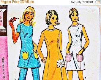 on SALE 25% OFF 1970s A line Dress Pattern Womens Half Size Bust 39 Uncut Mini Aline Dress, Tunic Top, High Waisted Pants Pattern