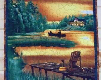 Wall Hanging Fabric Quilt Cabin Retreat Handmade Mug Rug Outdoor Nature Scene Cabin Decor