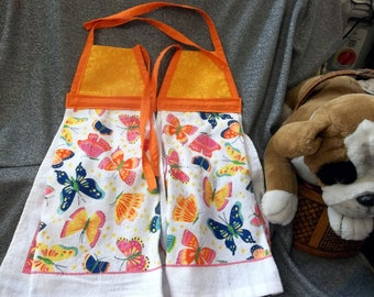 Hanging Printed Kitchen Terry Tie Towels, Light Orange Calico Print Top