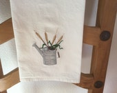CATTAILS in Watering Can, Machine embroidered tea towel/flour sack towel.