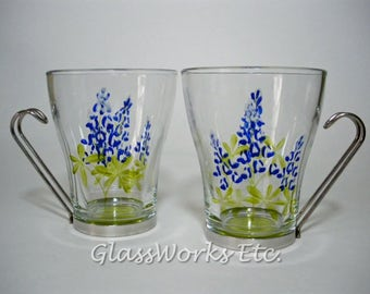 Glass coffee tea cups hand painted Texas bluebonnets Set of 2