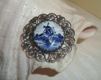 PIN Antique Delft Windmill Pendant blue porcelain silver filigree estate jewelry