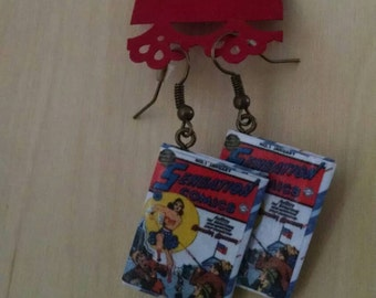 Mini Wonder Woman Comic Book Earrings - Comic Book Jewelry - Comic Book Earrings - Comic Book Jewelry - Wonder Woman Comic Book Earrings