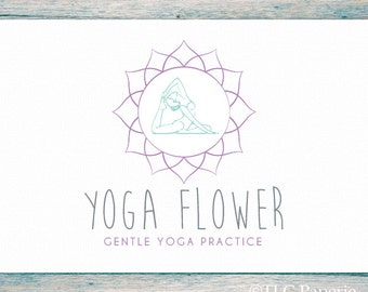 Yoga Logo, Mandala Logo Design, Custom Logo, Lotus Logo, Bohemian Logo, Premade Logo