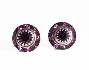 Purple crystal stud earrings - purple studs - purple earrings - amethyst earrings - Swarovski crystal