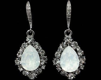 White Opal Bridal Earrings, Drop Earrings, Teardrop Bridal Jewelry, Dangle Wedding Earrings, Swarovski Wedding Jewelry, Gift for Her, BIJOUX
