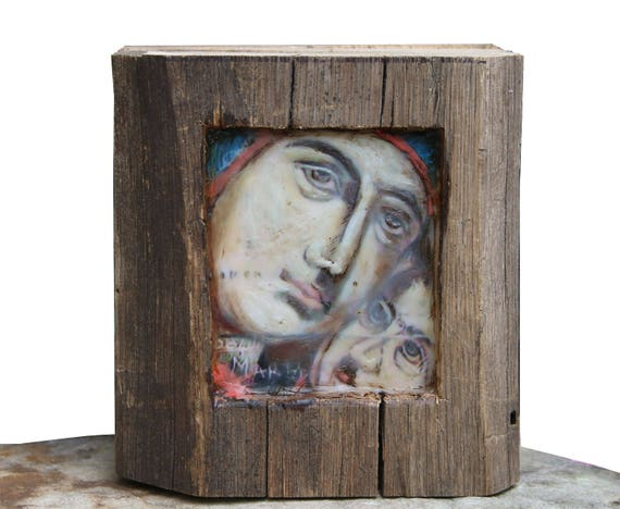 Hiding places by Ingrid Blixt - Blessed Mother and Jesus- original encaustic mixed media carved in reclaimed barn wood