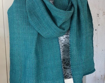 Turquoise and blue multi color merino wool cotton scarves hand dyed woven  two colors available