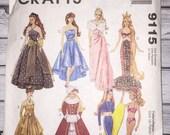 Mccalls Crafts 9115 Dress Gown Swim Suit Wet Suit Fashion Doll Clothes 11.5 Inch Barbie Dolls Sewing Pattern UNCUT