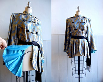 1950s Dynasty Hong Kong Silk Satin Peplum Blouse // Asian Silk Jacket