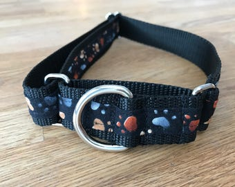Heart steps , Paw print  Martingale Dog Collar,  Training dog collar, Greyhound dog collar. Dog collars for sighthounds.