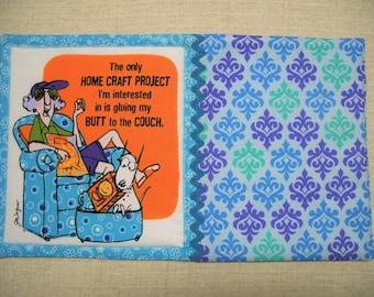 Maxine, Fabric Mug Rug, Snack Mat, Candle Mat, Funny, Blue Mug Rug