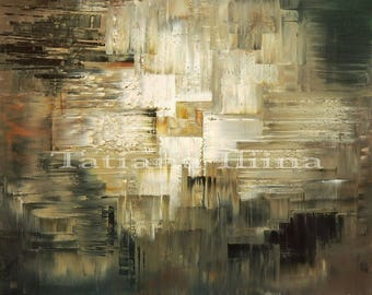Neutral fine art abstract giclee print on CANVAS of original painting TAILING'S POND by Tatiana Iliina