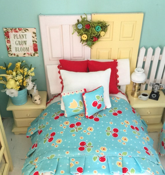 Miniature Dollhouse Cherry Bedding and White vintage bed-1:12 scale