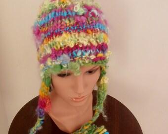 sale Beanie Ear flap hat  Hand Spun Hand Knit  Art Yarn rainbows