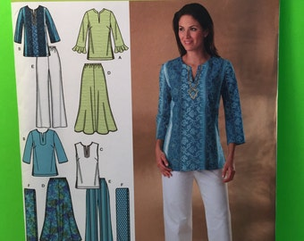 Simplicity Pattern 4149 Misses/Women's Skirt, Pants, Tunic And Scarf Size AA