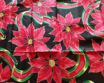 Vintage Poinsettia And Ribbons Fabric Appliqués