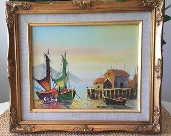 Sunrise Harbor Oil Painting