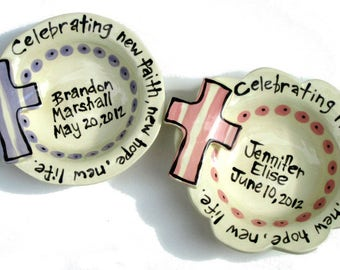 Handmade pottery custom personalized baptism or new baby cross bowl