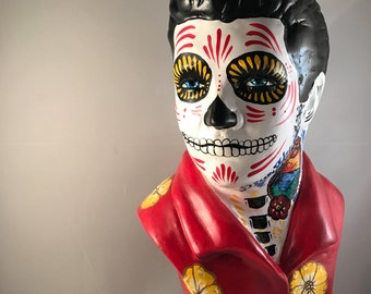 Day of the Dead Elvis Bust, Dia de Los Muertos Elvis, Low Brow art, Elvis sculpture, Tattoo Flash Elvis, Elvis Skull