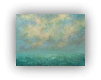 Large Abstract Landscape Oil Painting- 30 x 40 Blue Green and Yellow Field Sky and Clouds Painting- Original Palette Knife Art on Canvas