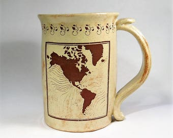 World Map Mug Large Sepia Coffee Cup Gift for Travelers