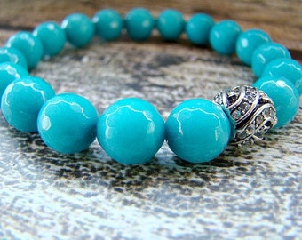 Gemstone Beaded Bracelet, Teal Blue Bead Bracelet, Clear Crystal Bracelet, Stretch Bracelet, Stacking Bracelet, Womens Beaded Bracelet