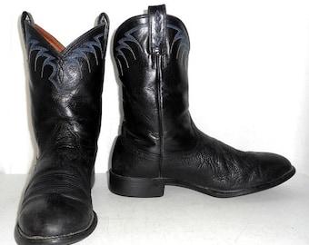 Mens 11.5 D Cowboy Boots Ariat Brand Black Blue Distressed Roper Style Western Biker
