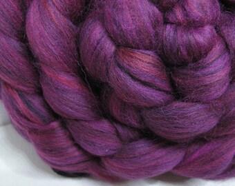 Merino 18.5 Micron/Mulberry Silk 75/25 Combed Top - 5oz - Ruby Raven