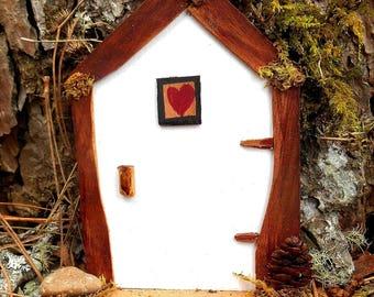 Miniature Fairy House Door, White Fairy Garden Door, Natural Materials, Handmade Fairy door