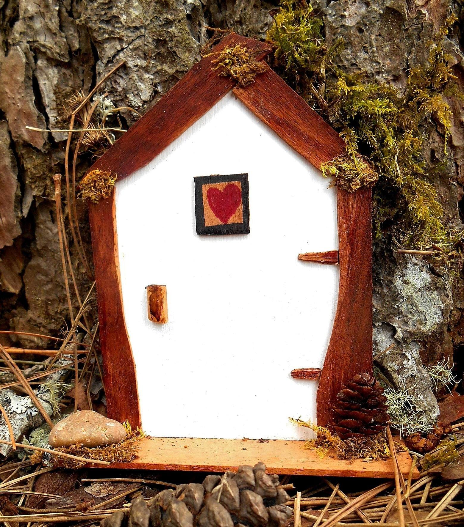 Miniature fairy house door white fairy garden door natural for White fairy door