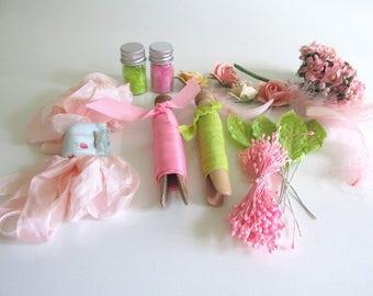 Pink Green Spring Craft Supplies Pastel Millinery Flowers Easter Basket Vintage Seam Binding Wedding Corsage Boutonniere Scrapbook