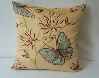 Butterfly Pillow, Floral decorative  Pillow, spring Pillow, Dull gold pillow, Accent Pillow, Decorative Pillow, Throw Pillow, 18 x 18 Pillow