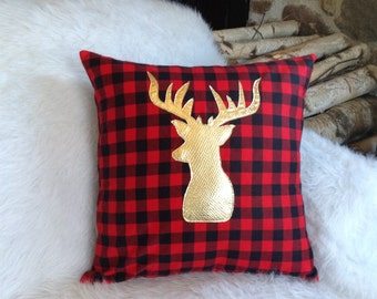 Pillow Covers 18 X 18, Christmas Decorations, Pillow Covers Christmas, Gold Christmas Decor, Gold Accents, Couch Pillows, Deer Antler, Throw