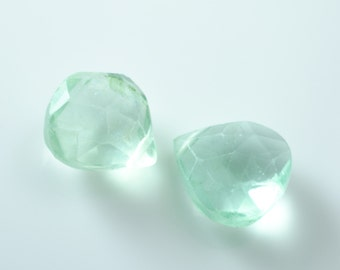 Faceted Green Fluorite Heart Teardrop Briolettes Matched Pair