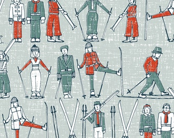 Vintage Winter Ski Fabric - Vintage Ski Linen By Scrummy -  Retro Skiing Winter Holiday Cotton Fabric By The Yard With Spoonflower