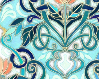 Art Nouveau Fabric - Ocean Aqua Art Nouveau With Peach Flowers Large Print By Micklyn - Art Deco Cotton Fabric By The Yard With Spoonflower